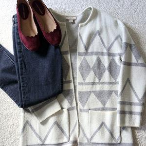 Loft Gray and White Open Sweater Coat
